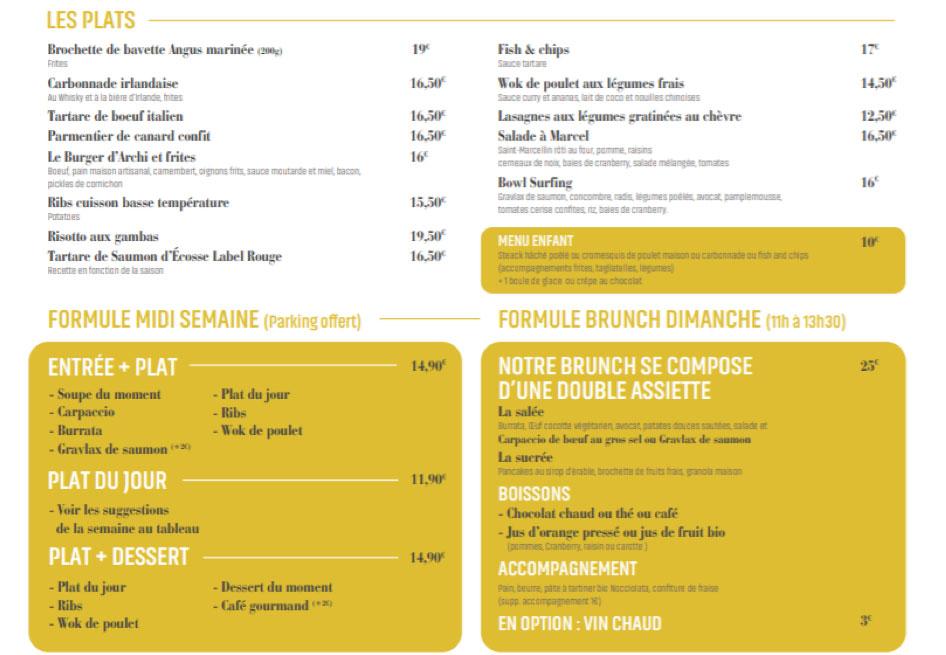 Menu du restaurant l'Archimède, Lille