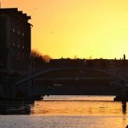 bassin de la Villette : pont de Crimée, coucher de soleil