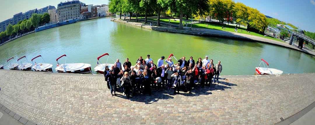 Canal de l'Ourcq, Départ d'un groupe pour une chasse au trésor sur nos bateaux électriques et sans permis