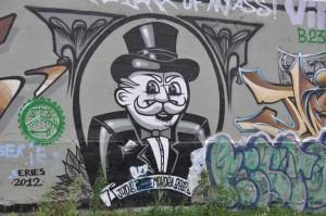 Street Art Monopoly sur le canal de l'Ourcq