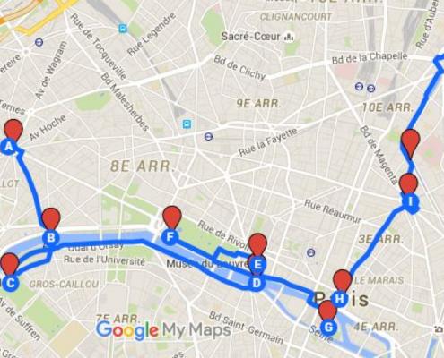 Carte avec itinéraire dans Paris