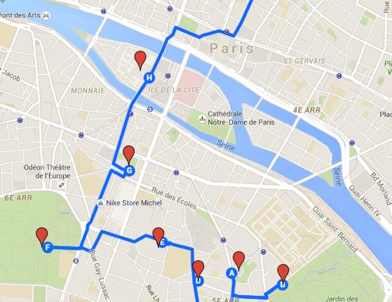 Carte avec itinéraire dans Paris (2e jour)