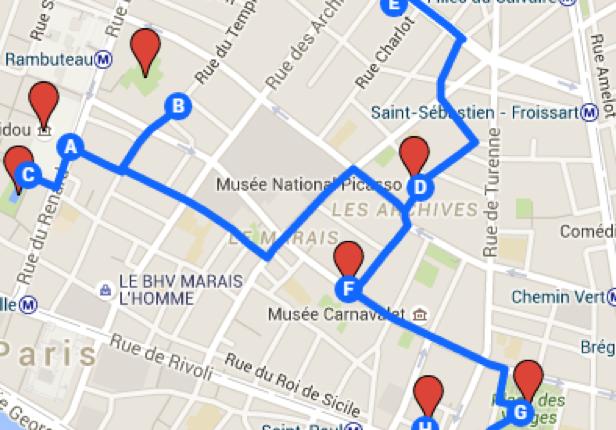 Carte avec itinéraire dans Paris (3e jour)