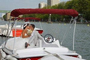 Photo de mariage sur un bateau