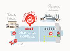 Plan : bassin de la Villette et canal de l'Ourcq