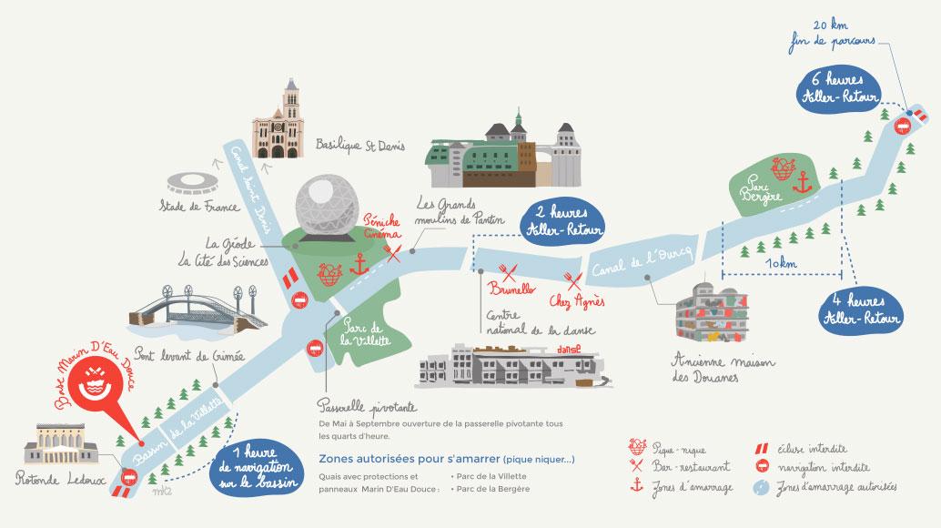 Plan parcours canal de l'Ourcq